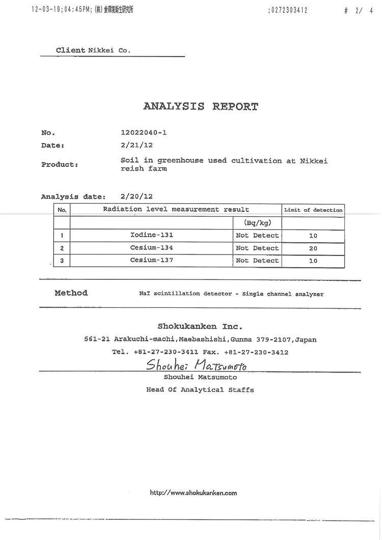 Báo cáo kiểm nghiệm phóng xạ